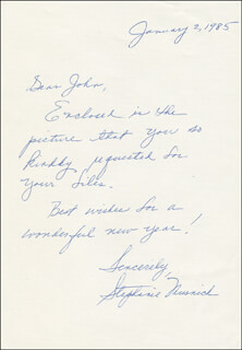 STEPHANIE MUSNICK - AUTOGRAPH LETTER SIGNED 01/02/1985