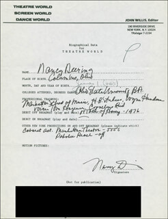 NANCY DEERING - AUTOGRAPH RESUME SIGNED