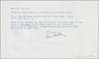 RUTH MILLER - TYPED LETTER SIGNED