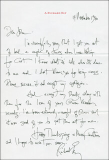 RICHARD ELY - AUTOGRAPH LETTER SIGNED 11/14/1980