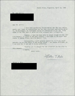 HECTOR J. MELO - TYPED LETTER SIGNED 04/16/1986
