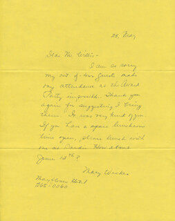 MARY WICKES - AUTOGRAPH LETTER SIGNED