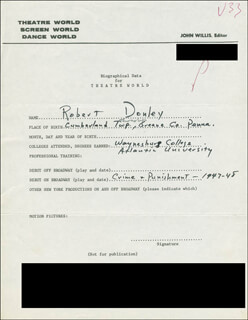 ROBERT DONLEY - AUTOGRAPH DOCUMENT SIGNED IN TEXT