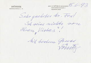 Autographs: GRAND ADMIRAL KARL DONITZ - AUTOGRAPH LETTER SIGNED 06/15/1973
