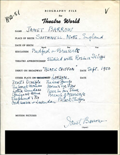 JANET BARROW - AUTOGRAPH RESUME SIGNED