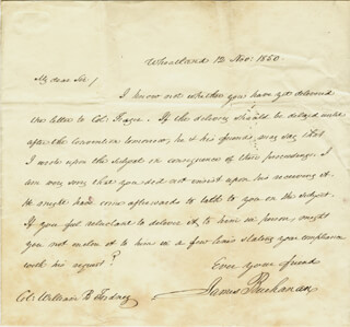 PRESIDENT JAMES BUCHANAN - AUTOGRAPH LETTER SIGNED 11/12/1850
