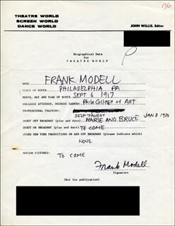 FRANK MODELL - AUTOGRAPH RESUME SIGNED