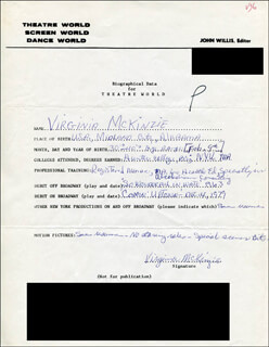 VIRGINIA MCKINZIE - AUTOGRAPH RESUME SIGNED