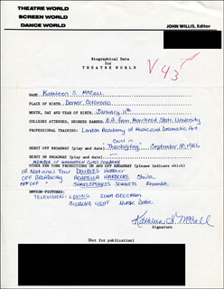 KATHLEEN S. McCALL - AUTOGRAPH RESUME SIGNED