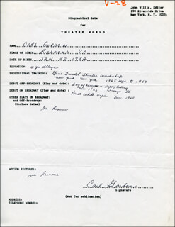 CARL GORDON - AUTOGRAPH RESUME SIGNED