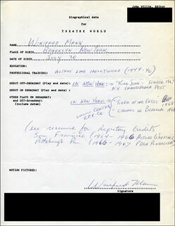 WINIFRED MANN - AUTOGRAPH RESUME SIGNED