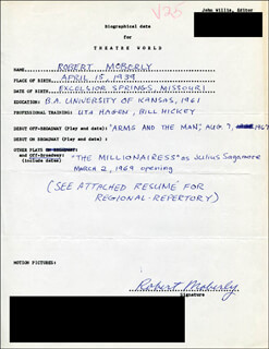 ROBERT MOBERLY - AUTOGRAPH RESUME SIGNED