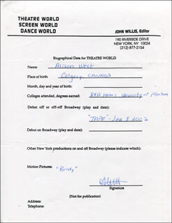 ALISON WEST - AUTOGRAPH RESUME SIGNED