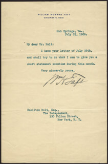 PRESIDENT WILLIAM H. TAFT - TYPED LETTER SIGNED 07/31/1908