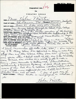HELEN MARTIN - AUTOGRAPH RESUME SIGNED