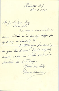 PRESIDENT GROVER CLEVELAND - AUTOGRAPH LETTER SIGNED 12/08/1900