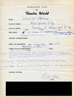 LUCILLE PATTON - AUTOGRAPH RESUME SIGNED