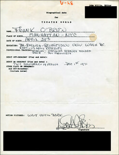 FRANK O'BRIEN - AUTOGRAPH RESUME SIGNED