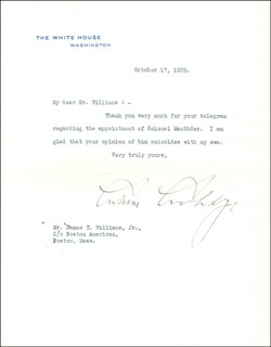 Autographs: PRESIDENT CALVIN COOLIDGE - TYPED LETTER SIGNED 10/17/1925