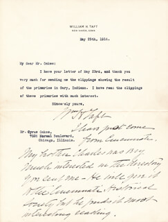 PRESIDENT WILLIAM H. TAFT - TYPED LETTER SIGNED 05/25/1914