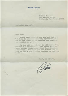 ARTIE SHAW - TYPED LETTER SIGNED 09/13/1974