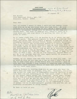ARTIE SHAW - TYPED LETTER SIGNED 08/14/1978