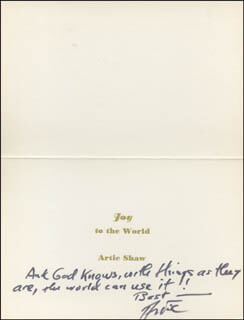 ARTIE SHAW - CHRISTMAS / HOLIDAY CARD SIGNED