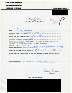 AMY DANIS - AUTOGRAPH RESUME SIGNED