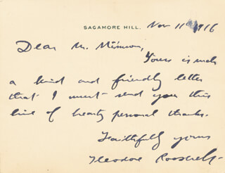 PRESIDENT THEODORE ROOSEVELT - AUTOGRAPH LETTER SIGNED 11/11/1916