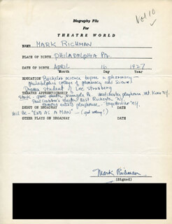 PETER MARK RICHMAN - AUTOGRAPH RESUME SIGNED  - HFSID 308517