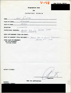 JOHN CUTTS - AUTOGRAPH RESUME SIGNED