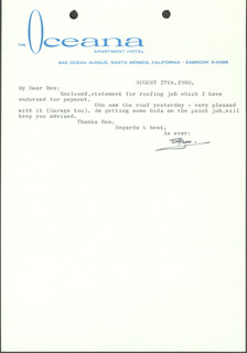 LAUREL & HARDY (STAN LAUREL) - TYPED LETTER SIGNED 08/17/1960