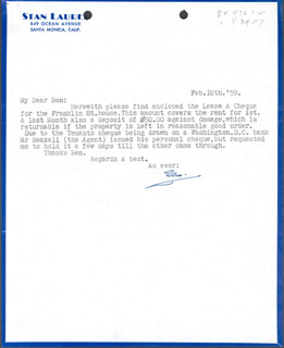 LAUREL & HARDY (STAN LAUREL) - TYPED LETTER SIGNED 02/18/1959