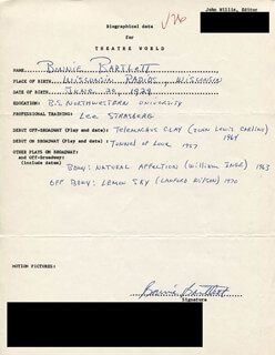 BONNIE BARTLETT - AUTOGRAPH RESUME SIGNED