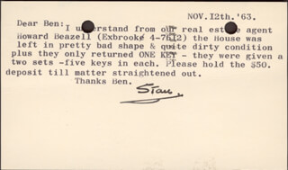 LAUREL & HARDY (STAN LAUREL) - TYPED LETTER SIGNED 11/12/1963