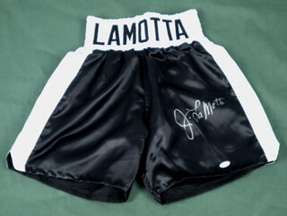JAKE THE RAGING BULL LA MOTTA - BOXING TRUNKS SIGNED