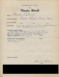 HAROLD PATRICK - AUTOGRAPH RESUME SIGNED