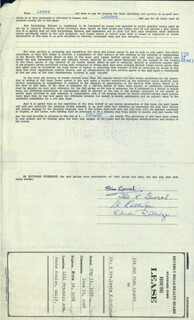 LAUREL & HARDY (STAN LAUREL) - DOCUMENT SIGNED 05/11/1957 CO-SIGNED BY: IDA (MRS. STAN) LAUREL