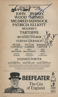 TARTUFFE PLAY CAST - SHOW BILL SIGNED CO-SIGNED BY: TAMMY GRIMES, JOHN WOOD, VICTOR GARBER