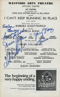I CAN'T KEEP RUNNING IN PLACE PLAY CAST - SHOW BILL SIGNED CO-SIGNED BY: HELEN GALLAGHER, MARCIA RODD, JOY FRANZ, EVALYN BARON, JENNIE VENTRISS, BEV LARSON