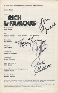 RICH & FAMOUS PLAY CAST - SHOW BILL SIGNED CO-SIGNED BY: ANITA GILLETTE, RON LEIBMAN, WILLIAM ATHERTON, JOHN GUARE