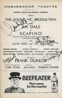 SCAPINO PLAY CAST - SHOW BILL SIGNED CO-SIGNED BY: JIM DALE, GEORGE CONNOLLY, CHRISTOPHER HASTINGS, IAN TRIGGER