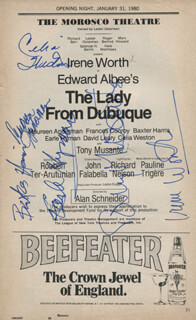 THE LADY FROM DUBUQUE PLAY CAST - SHOW BILL SIGNED CO-SIGNED BY: IRENE WORTH, TONY MUSANTE, CELIA WESTON, EARLE HYMAN, MAUREEN ANDERMAN, BAXTER HARRIS