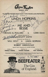 Autographs: ME AND BESSIE PLAY CAST - INSCRIBED SHOW BILL SIGNED CO-SIGNED BY: LINDA HOPKINS, WILL HOLT, GERRI DEAN
