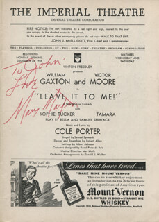 MARY MARTIN - INSCRIBED SHOW BILL SIGNED
