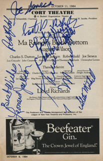 MA RAINEY'S BLACK BOTTOM PLAY CAST - SHOW BILL SIGNED CO-SIGNED BY: THERESA MERRITT, CHARLES S. DUTTON, JOE SENECA, ALETA MITCHELL, LEONARD JACKSON, ROBERT JUDD, SCOTT DAVENPORT-RICHARDS