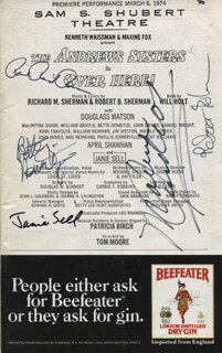 OVER HERE! PLAY CAST - SHOW BILL SIGNED CO-SIGNED BY: MAXENE ANDREWS, ROBERT B. SHERMAN, JANIE SELL, BETTE HENRITZE