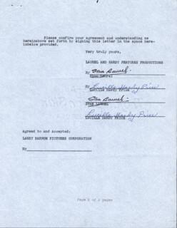 LAUREL & HARDY (STAN LAUREL) - DOCUMENT SIGNED 1962 CO-SIGNED BY: LUCILLE (VIRGINIA) HARDY PRICE