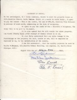 LAUREL & HARDY (STAN LAUREL) - DOCUMENT SIGNED 04/03/1950 CO-SIGNED BY: IDA (MRS. STAN) LAUREL