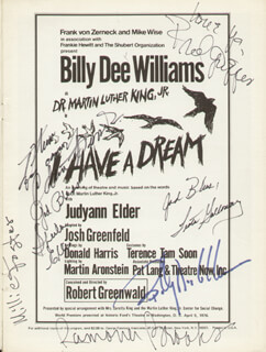 I HAVE A DREAM PLAY CAST - SHOW BILL SIGNED CO-SIGNED BY: BILLY DEE WILLIAMS, MILLIE FOSTER, RAMONA BROOKS, SHEILA ELLIS, LEATA GALLOWAY, FRED GRIPPER